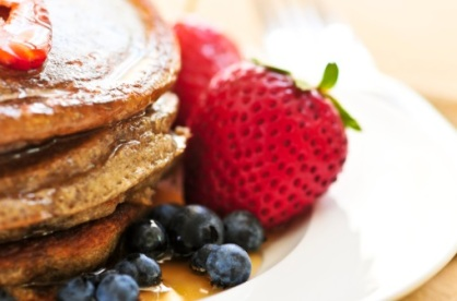 Whole Grain Pancakes w/ Syrup and Berries